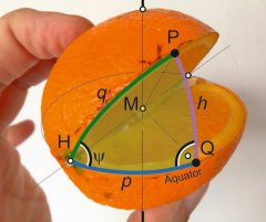 Great-circle orthodromic navigation on an orange